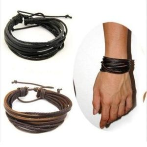 Other - Brown or Black Unisex Layered Leather Tie Bracelet